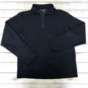 Kenneth Cole Black 1/4 Zip Casual Pullover Sweater